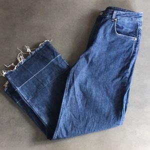 Massimo Dutti straight wide frayed cropped jeans